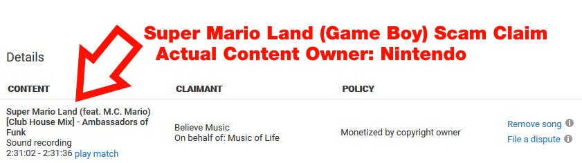 Believe Music UK Scamming Nintendo Music IP on YouTube