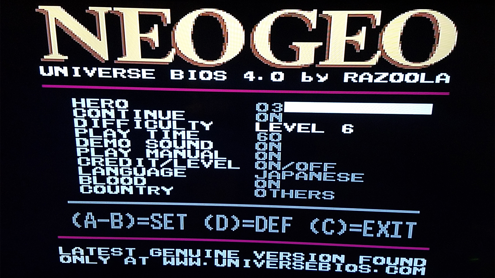 Neo Geo UniBIOS v4.0 Free For Personal Use
