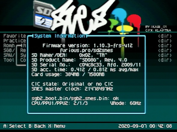 FXPAK (SD2SNES) Unofficial Firmware 1.10.3 by Furious