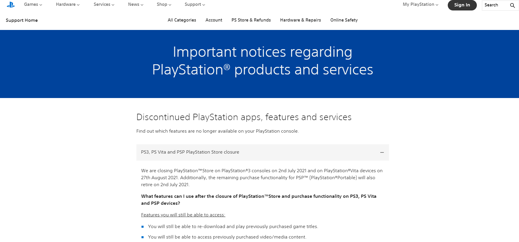 Sony Officially Announces Closure of Old Stores